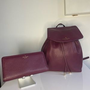 Kate Spade Mulberry Street Backpack and wallet.